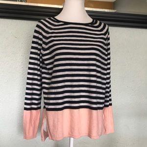 Vince cotton color striped light sweater